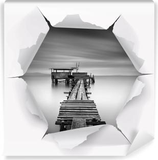 Vinyl Fotobehang Gat in de muur - Houten pier