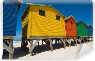 Vinyl Fotobehang Gekleurde strandhuisjes in de buurt van Kaapstad - lage hoek