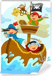Vinyl Fotobehang Gelukkig piraten varen in hun schip