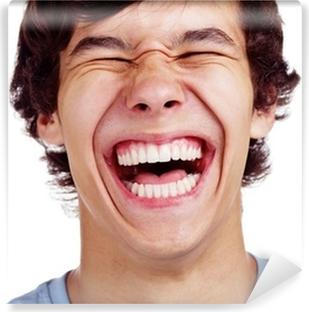 Vinyl Fotobehang Gelukkig tiener lachen close-up op wit