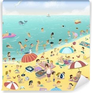 Vinyl Fotobehang Gente en la playa