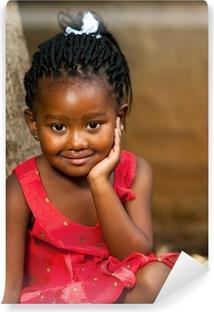 Vinyl Fotobehang Gezicht shot van schattig Afrikaans meisje.