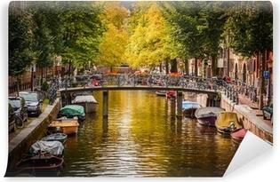 Vinyl Fotobehang Gracht in Amsterdam