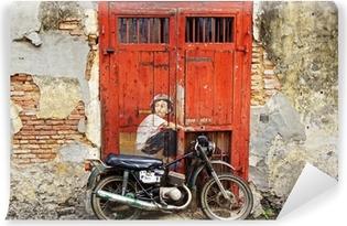 """Vinyl Fotobehang Graffiti """"Jongen op een fiets""""."""