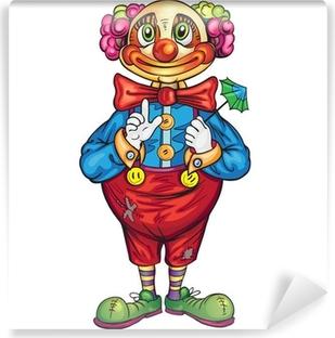 Vinyl Fotobehang Grappige cartoon clown op een witte achtergrond