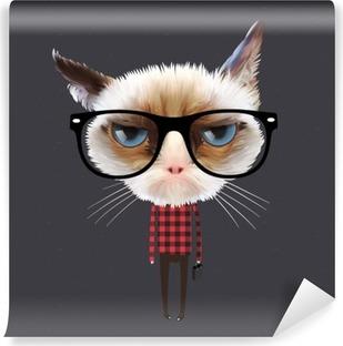 Vinyl Fotobehang Grappige cartoon kat, vectoreps10 illustratie.