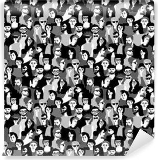 Vinyl Fotobehang Grote menigte gelukkige mensen zwart-wit naadloos patroon.
