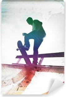 Vinyl Fotobehang Grungy Skateboarder