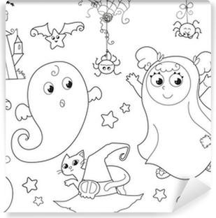 Kleurplaten Halloween Vleermuizen.Fotobehang Kleurplaten Halloween Vliegende Heks Met Ballon In De