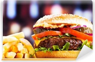 Vinyl Fotobehang Hamburger met frieten