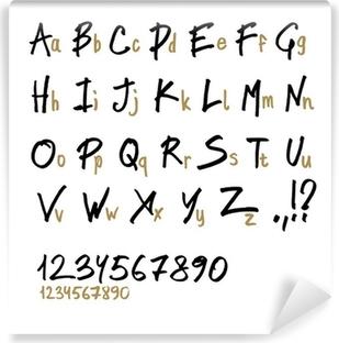 Vinyl Fotobehang Hand getrokken letters van het alfabet, in twee gezichten (hoofdletters en kleine letters).
