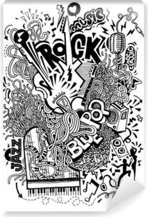 Vinyl Fotobehang Hand tekening Doodle, Collage met muziekinstrumenten