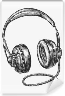 Vinyl Fotobehang Handgetekende uitstekende hoofdtelefoons. Schets muziek. vector illustratie
