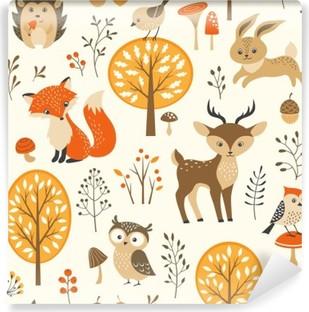 Vinyl Fotobehang Herfst bos naadloze patroon met schattige dieren