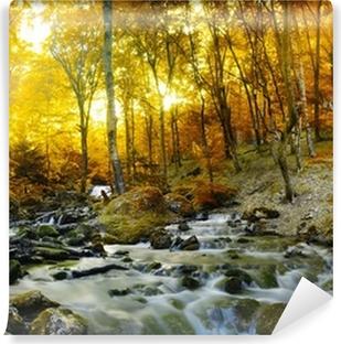 Vinyl Fotobehang Herfst creek bos met gele bomen