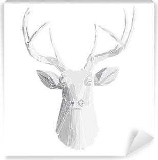 Vinyl Fotobehang Herten hoofd op witte achtergrond 2