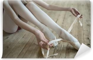 Vinyl Fotobehang Het aantrekken van ballet schoenen