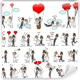 Vinyl Fotobehang Het beeld, de bruid en bruidegom in de liefde, vector