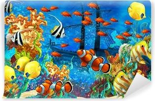 Vinyl Fotobehang Het koraalrif - illustratie voor de kinderen