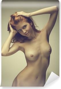 Vinyl Fotobehang Het mooie meisje poseren naakt