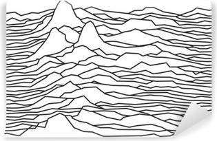 Vinyl Fotobehang Het ritme van de golven, de pulsar, vector lijnen ontwerp, gebroken lijnen, bergen