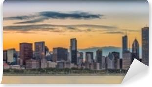 Vinyl Fotobehang Horizon de van de binnenstad van Chicago en meer Michigan bij zonsondergang