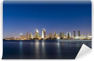 Vinyl Fotobehang Horizon van San Diego bij Nacht