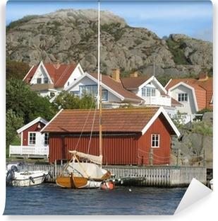 Vinyl Fotobehang Huizen door de zee aan de westkust van Zweden
