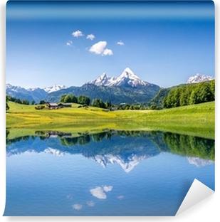 Vinyl Fotobehang Idyllische zomer landschap met bergen meer en de Alpen