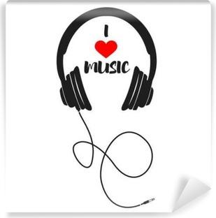 Vinyl Fotobehang Ik houd van muziek