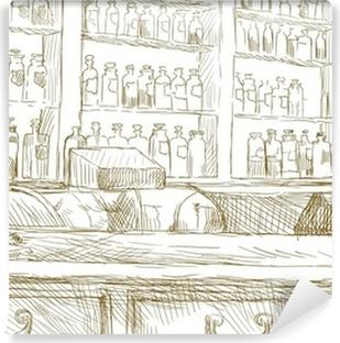 Fotobehang Interieur van een oude apotheek. (Tekening in vector ...