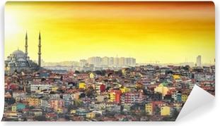 Vinyl Fotobehang Istanbul Moskee met kleurrijke woonwijk in zonsondergang