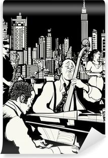 Vinyl Fotobehang Jazz band spelen in New York