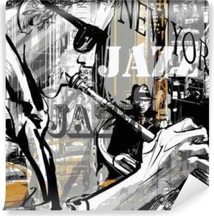 Vinyl Fotobehang Jazz trompettist in een straat van New York