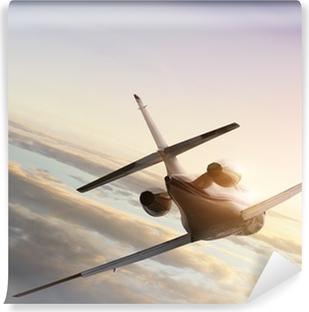 Vinyl Fotobehang Jet vliegtuig op vliegen naar de zonsondergang