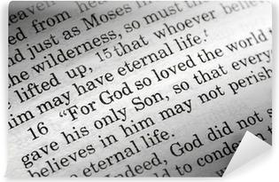 Vinyl Fotobehang Johannes 3:16 in de christelijke Bijbel, Want alzo lief heeft God de wereld ...