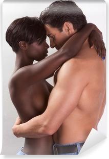 Vinyl Fotobehang Jong paar naakte Man en vrouw in liefde zoenen