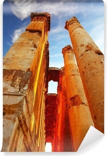 Vinyl Fotobehang Jupiter's tempel over blauwe hemel, Baalbek, Libanon