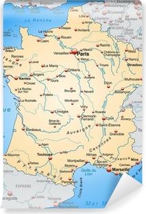 Vinyl Fotobehang Kaart van Frankrijk met de buurlanden in oranje