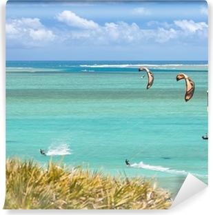 Vinyl Fotobehang Kite surfen à l'île Rodrigues, lagon de l'anse Mourouk