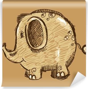 Vinyl Fotobehang Kleur Chalk Marker Sketch Doodle Animal Olifant Vector