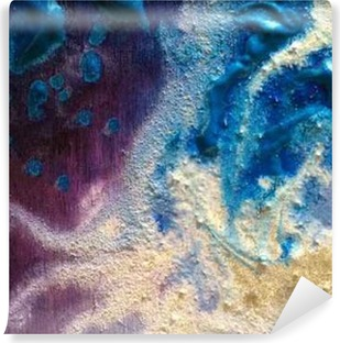 Vinyl Fotobehang Kleurrijke verf textuur. Groen en zilver. Paars en blauw