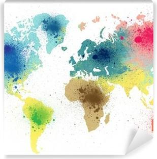 Vinyl Fotobehang Kleurrijke wereldkaart met verf spatten