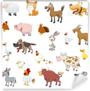 Vinyl Fotobehang Landbouwhuisdieren instellen