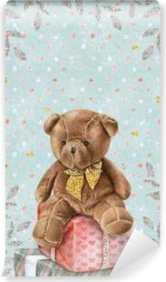 Vinyl Fotobehang Leuke Aquarel Teddybeer met geschenkdozen