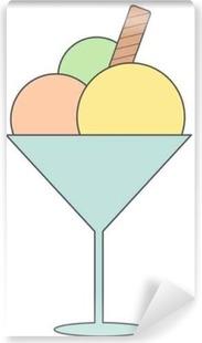 Vinyl Fotobehang Leuke cartoon ice cream cup vector illustratie geïsoleerd op wit background____