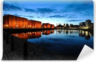 Vinyl Fotobehang Liverpool skyline bij nacht