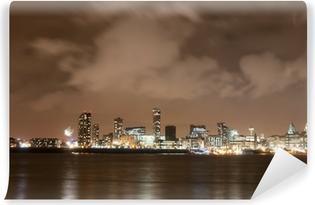 Vinyl Fotobehang Liverpool Vuurwerk Panorama op New Year's Eve