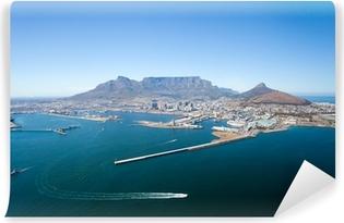 Vinyl Fotobehang Luchtfoto van Kaapstad en Tafelberg, Zuid-Afrika