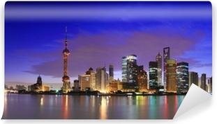 Vinyl Fotobehang Lujiazui Finance & Trade Zone van Shanghai oriëntatiepunt skyline bij zonsopgang